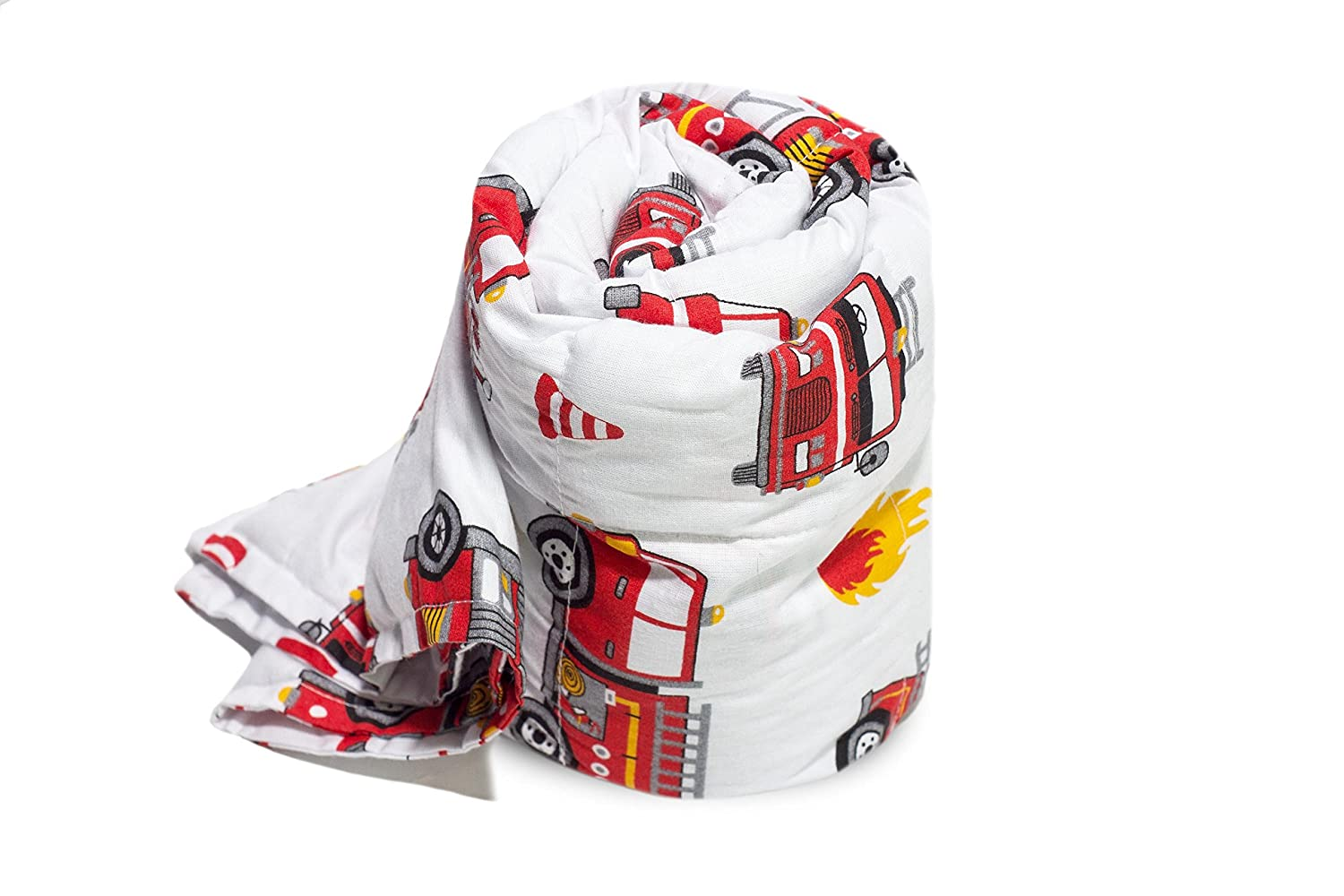 Senso-Rex. Gravity Blanket for the Youngest with a Fire Truck Theme. Used in ADHD and Autism Treatment. Size: 100x150 cm, Weight: 2kg. Fits Children between 3.7' and 4.7' (110-139cm) of Height.
