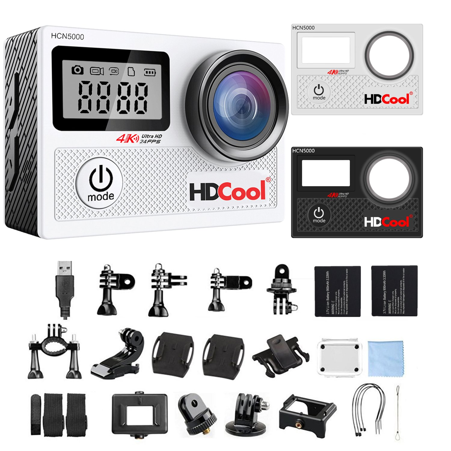HDCool HCN5000 4K Action Camera 20MP 170 Degree Ultra Wide-Angle Lens Wi-Fi Waterproof Sport Camera, 2.0 Inch LCD Display with 0.96 Inch Front Screen, Include 2 Rechargeable 1050 mAh Batteries by HDCOOL