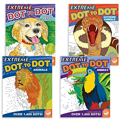 MindWare Extreme Dot to Dot Coloring Set of 4: Animals: Toys & Games
