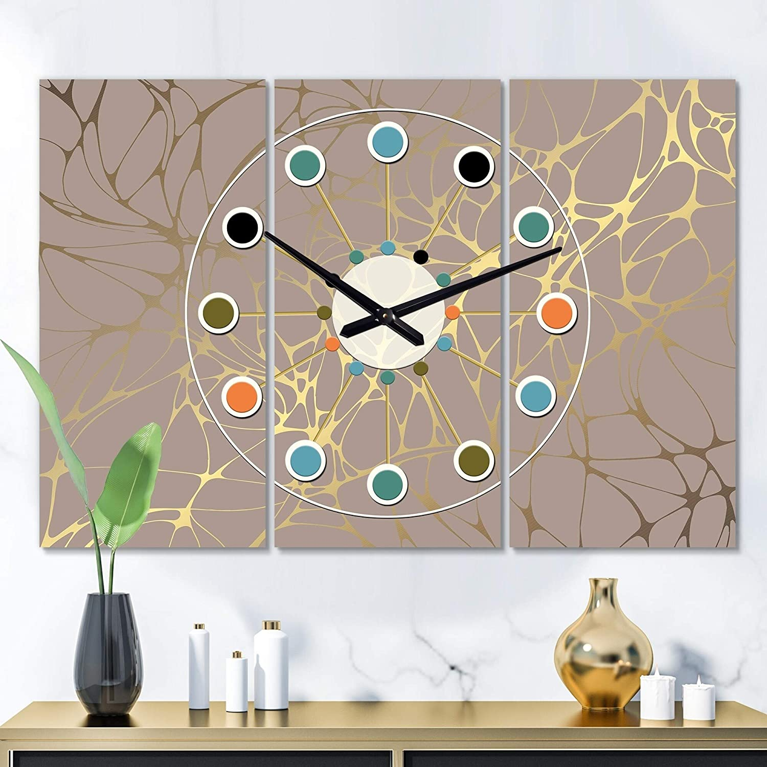 Amazon Com Golden Marble Design Ii Oversized Mid Century Wall Clock 3 Panels 36 In Wide X 28 High Gold Glam Modern Contemporary Aluminum Steel Finish Battery Included Home Kitchen