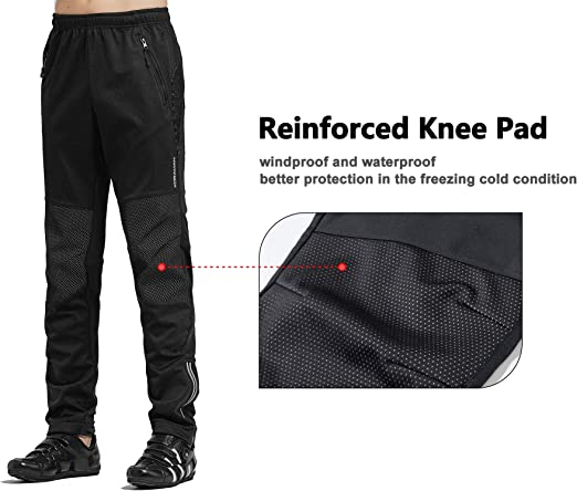 KORAMAN Mens Windproof Cycling Bike Pants Winter Thermal Fleece for Cold Weather Outddor Running Hiking