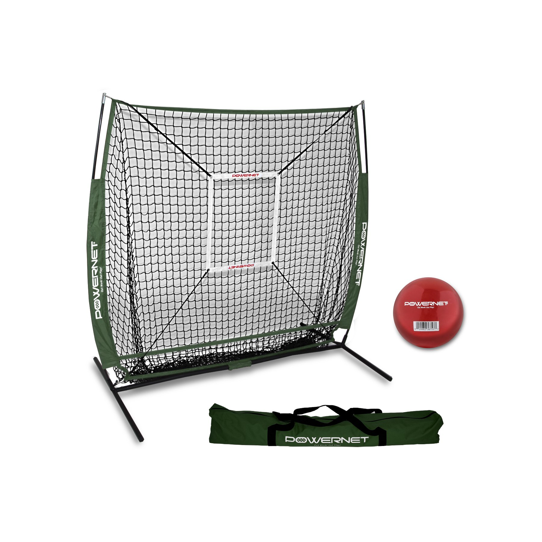PowerNet 5x5 Practice Net + Strike Zone + Weighted Training Ball Bundle (Green) | Baseball Softball Coaching Aid | Compact Lightweight Ultra Portable | Team Color | Batting Screen by PowerNet