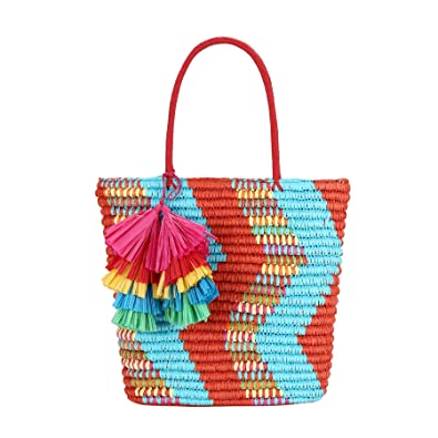 7229b3941 Daisy Rose Colorful Straw Bag for Summer with Zig-Zag and Tassel Detail-  Removable Inner Pouch Included: Handbags: Amazon.com