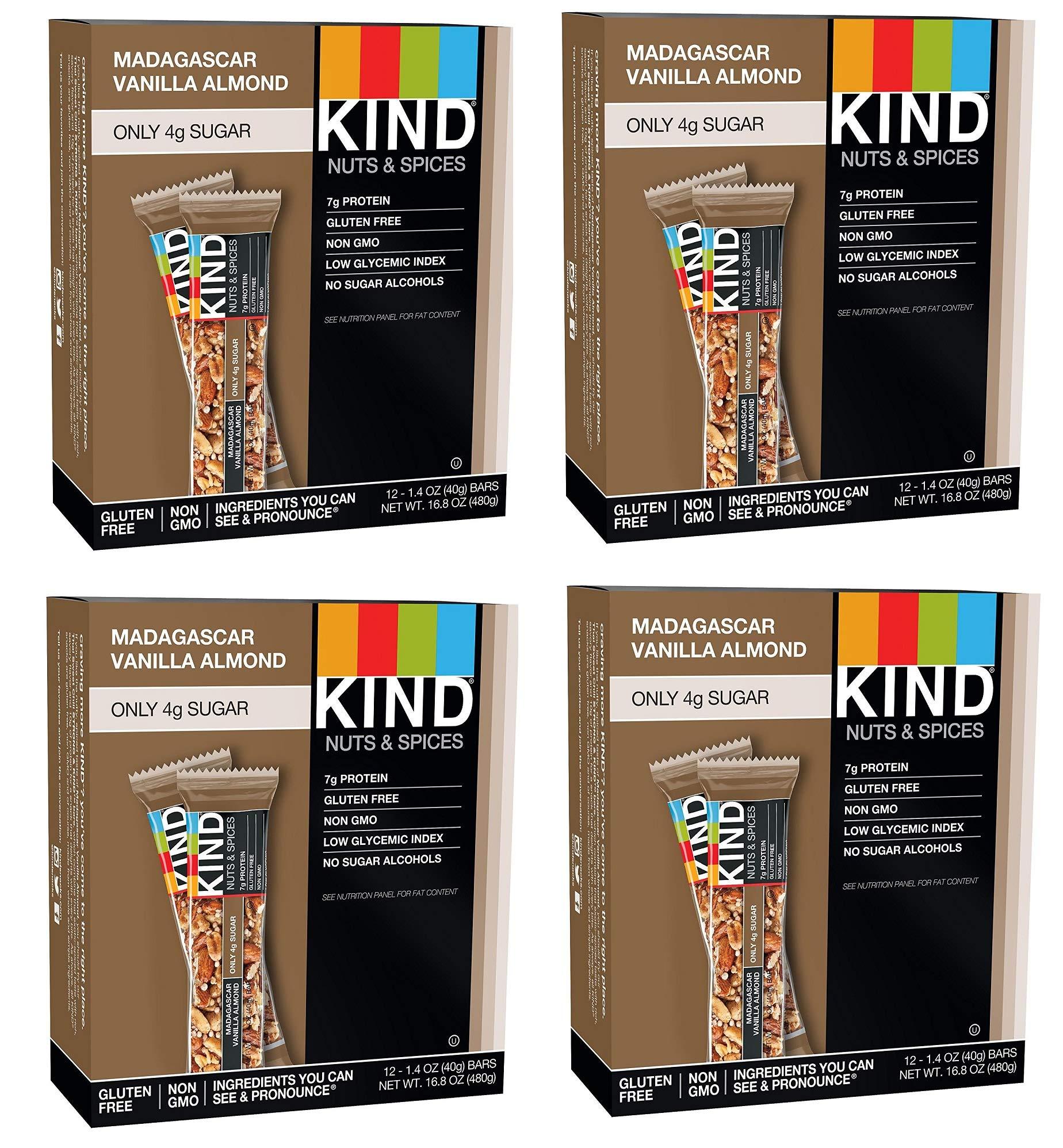 KIND Bars, Madagascar Vanilla Almond, Gluten Free, Low Sugar, 1.4oz, 48 Bars