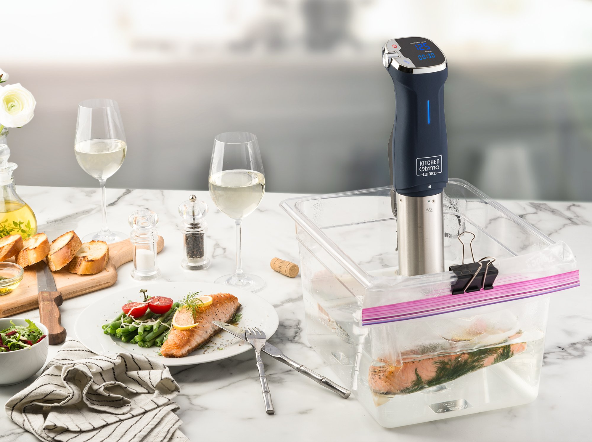 Kitchen Gizmo Sous Vide Immersion Circulator - Cook with Precision, 800 Watt Grey Circulator Stick with Touchscreen Control Panel and Safety Feature - Bonus Recipe Book Included by Kitchen Gizmo (Image #4)