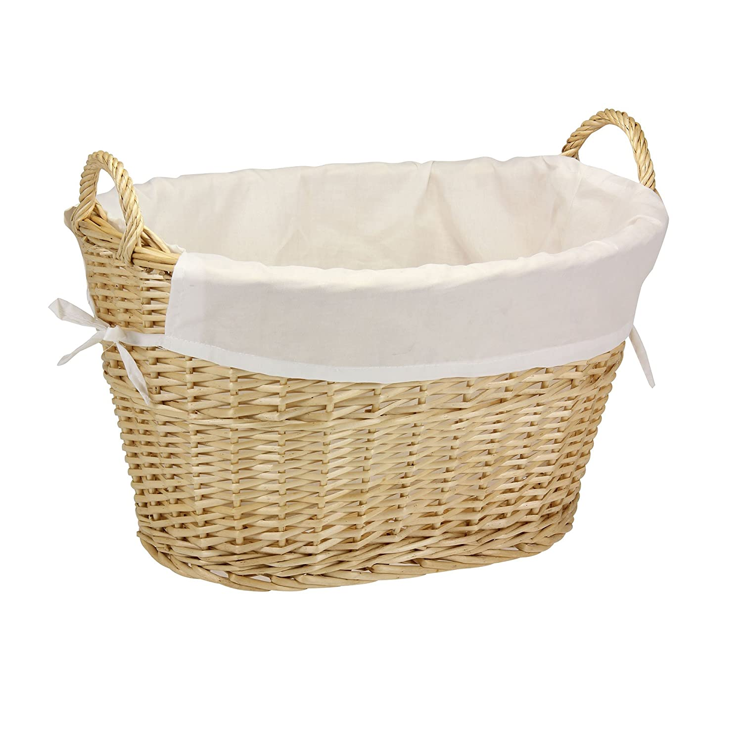 White wicker baskets with handle - Amazon Com Household Essentials Ml 5569 Willow Wicker Laundry Basket With Handles And Liner Natural Brown Home Kitchen