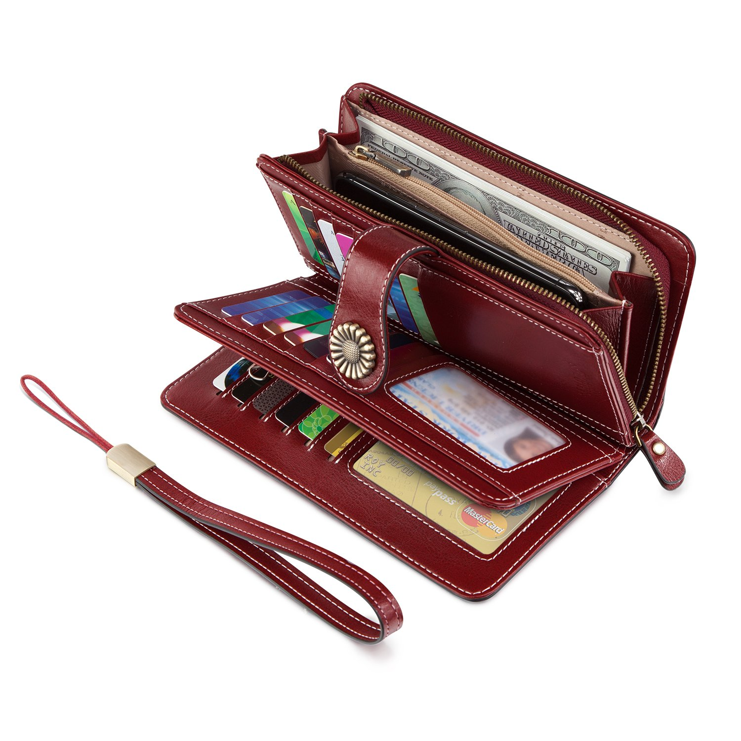 UMODE Vintage Style Genuine Leather Large Capacity Wallet Organizer for Women (Wine Color)
