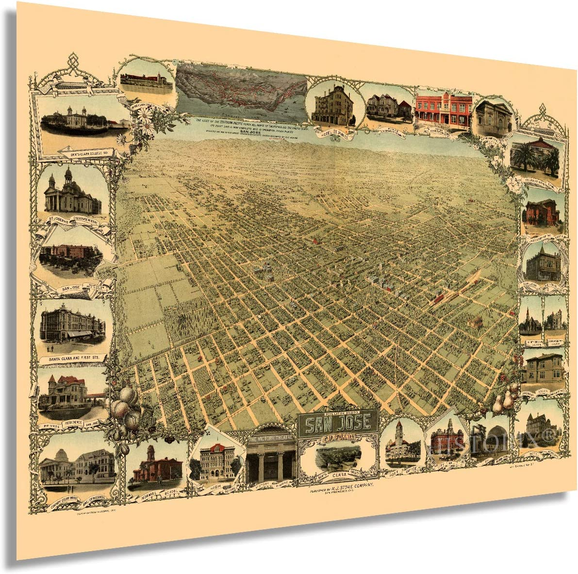 HISTORIX Vintage 1901 San Jose California Map - 18x24 Inch Vintage Map of San Jose Wall Art - Old Birds Eye View Historic Map of San Jose CA Includes Illustrations of Points of Interest (2 Sizes)
