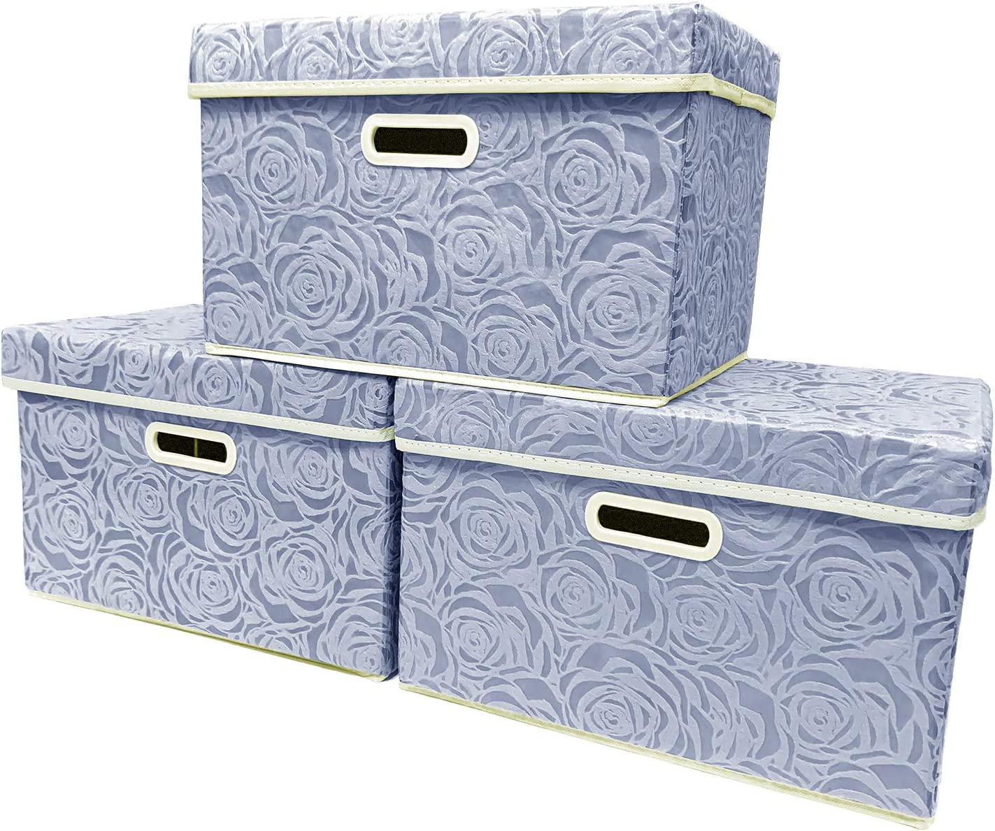 Storage Cubes 3 Pack, Foldable Basket Box, Closet Organizer with Lid and Handles for Home, Office, Nursery, Closet, Bedroom, Living Room