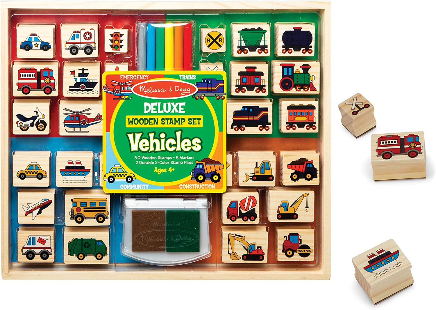 Vehicles 30 Stamps, 6 Markers, 2 Durable 2-Color Stamp Pads Melissa /& Doug Deluxe Wooden Stamp and Coloring Set