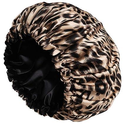 Amazon.com : Satin Bonnet Sleep Bonnet Cap - Extra Large, Double Layer, Reversible, Adjustable Satin Cap for Sleeping Hair Bonnet(Large, Leopard) : Beauty