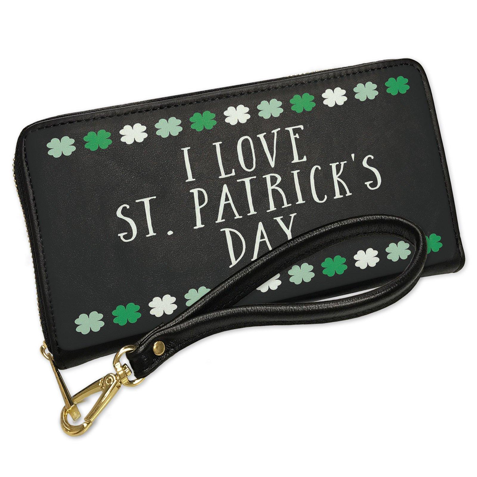 Wallet Clutch I Love St. Patrick's Day St. Patrick's Day Cute Shamrocks with Removable Wristlet Strap Neonblond