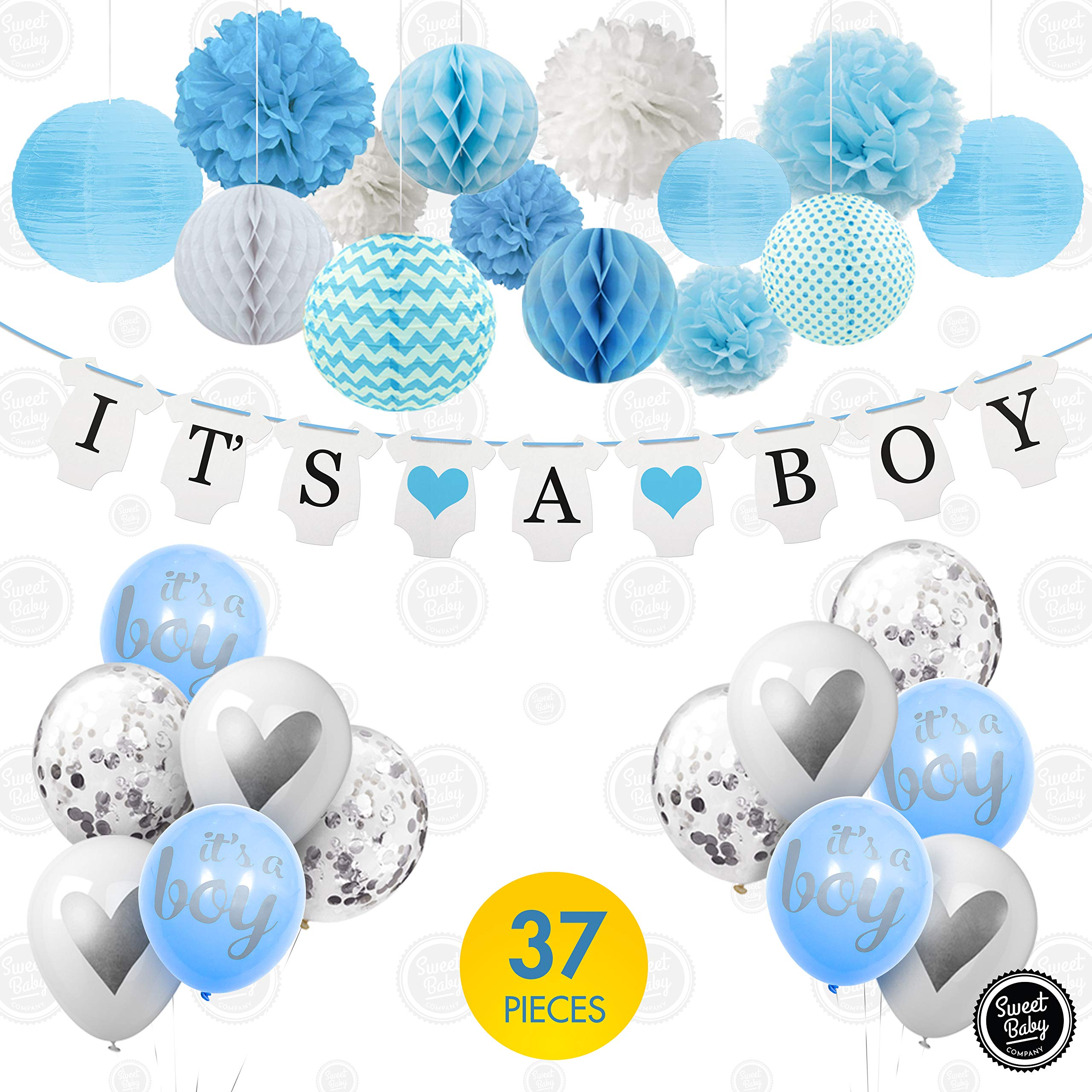Sweet Baby Co. Baby Shower Decorations For Boy With It's A Boy Banner, Paper Lanterns, Honeycomb Balls, Paper Tissue Pom Poms, Confetti Balloons, Silver Balloon Ribbon (Baby Blue, True Blue, Grey and White)   Baby Shower Decorations Set by Sweet Baby Company (Image #2)