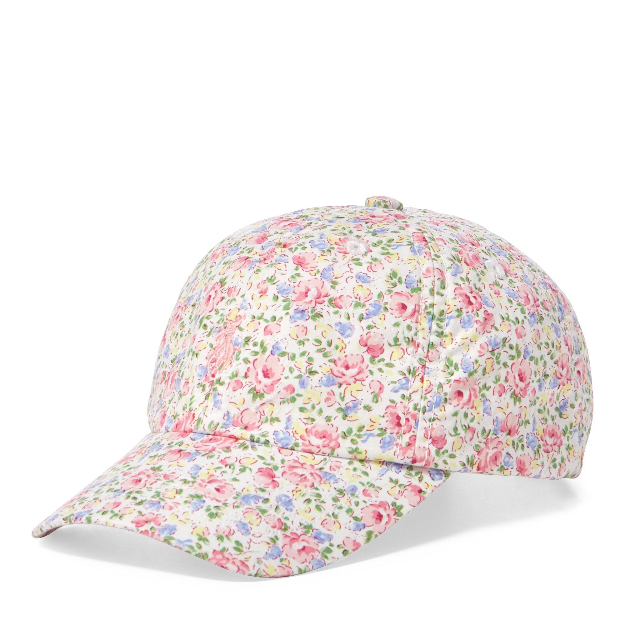 Polo Ralph Lauren Girl`s Gingham Poplin Baseball Hat (White(6001)/Floral, 4-6X)