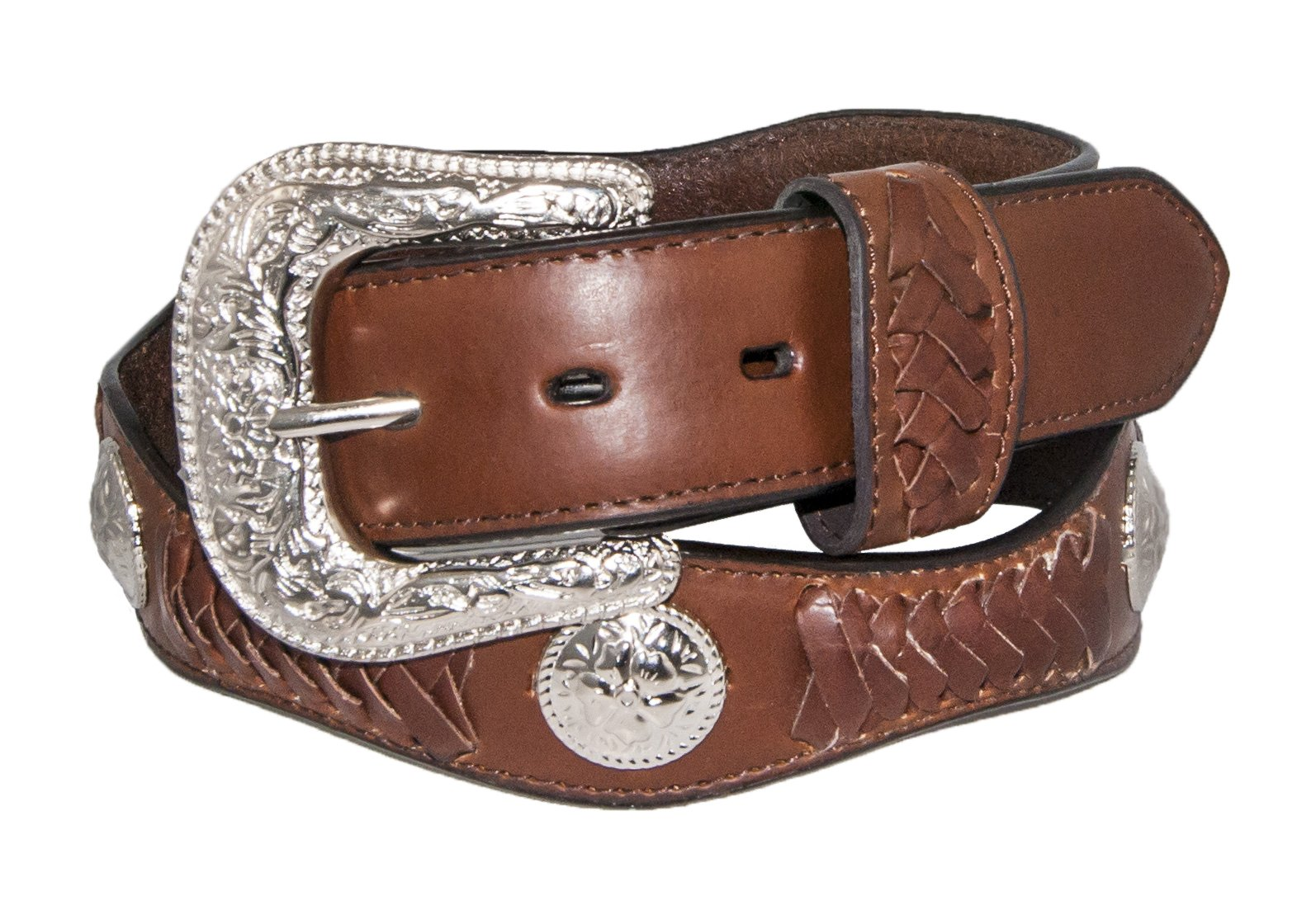 Silver Canyon Men's Leather Scalloped with Lacing and Concho Peanut Brittle Belt