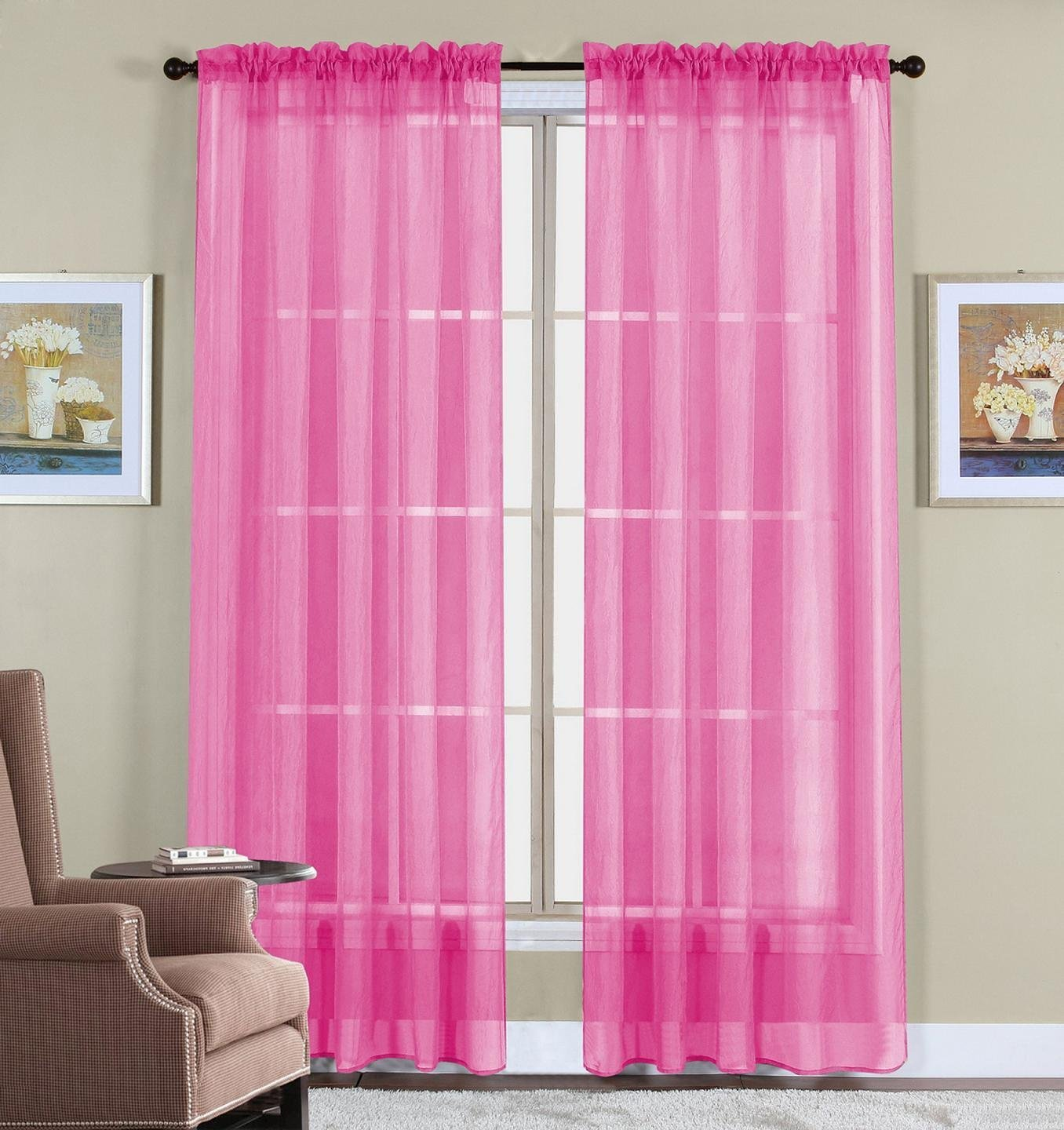 "60"" X 63"" 2 Pink Elegant Window Panels Treatments Sheers"