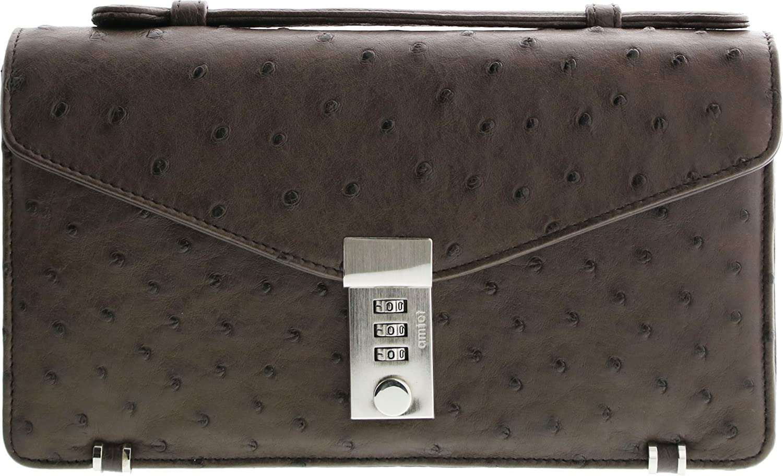 オーストリッチ メンズ ビジネス セカンドバッグ 2way ショルダーベルト付き B005IESD70 ニコチン ニコチン
