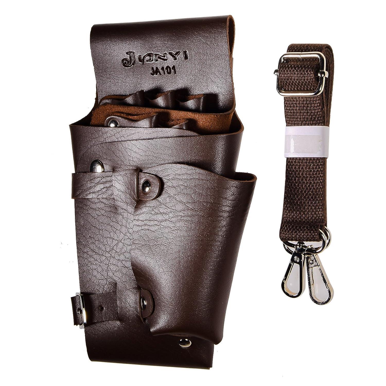 JZK® Bolsa peluquería cuero sostenedor caso tijeras bolsillos para barbero peluquería scissor peluquería salon pistola , marrón