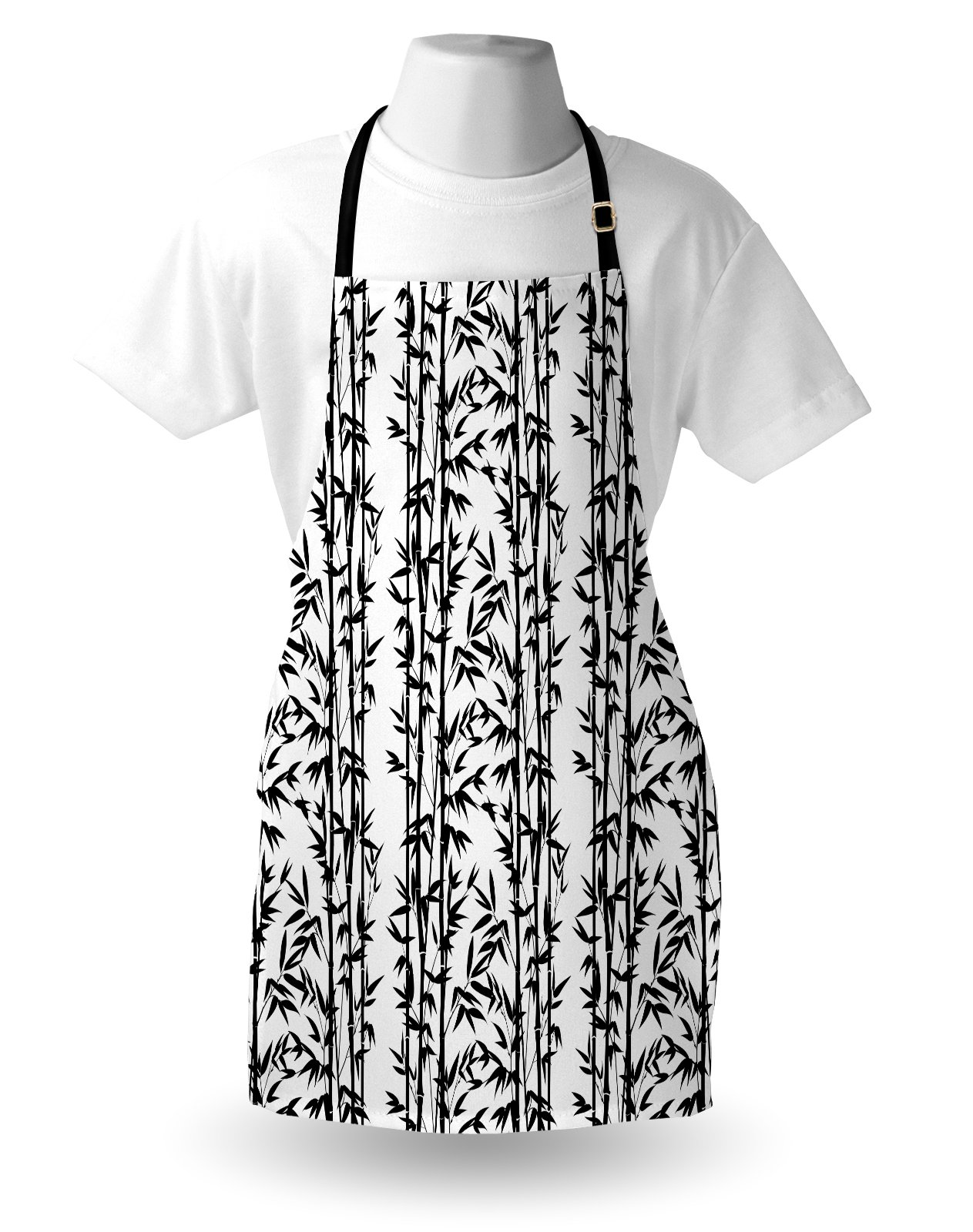 Lunarable Bamboo Apron, Monochrome Natural Inspirations with Bamboo Tree Growth Exotic Garden Zen Spa Art, Unisex Kitchen Bib Apron with Adjustable Neck for Cooking Baking Gardening, Black White by Lunarable (Image #3)