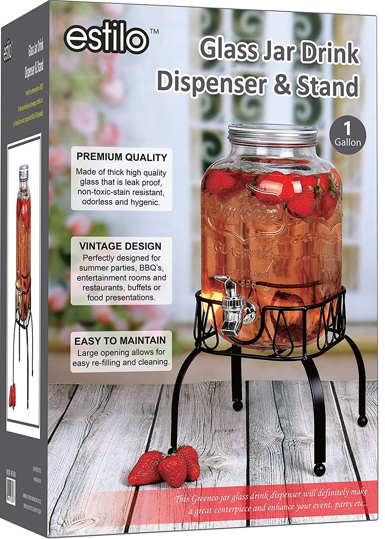 Estilo EST3088 On Metal Stand with Leak Free Spigot 1 Gallon Single Beverage Drink Dispenser Clear