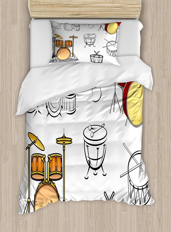 Lunarable Drums Duvet Cover Set, Trap Set Western Eastern Bongo Timpani Folk Rock Pop Modern Image, Decorative 2 Piece Bedding Set with 1 Pillow Sham, Twin Size, Brown Red