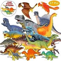 Estela Dinosaur Spielzeug Set,17 PCS Realistische kleine Dinosaurier Figur Modell , Dinosaurier Spielzeug Kindergeburtstag Party Dekoration,Die vier Kleinen dinosaurier IST zufällig