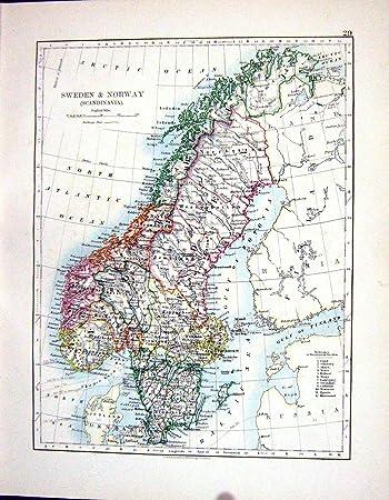 Karte Skandinavien.Johnston Antiken Karte Schweden 1898 Norwegen Skandinavien Dänemark