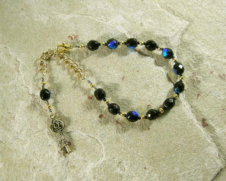 Prayer Bead Bracelet: Greek Goddess of Magic Thresholds Hecate Crossroads Women Darkness Witchcraft Hekate