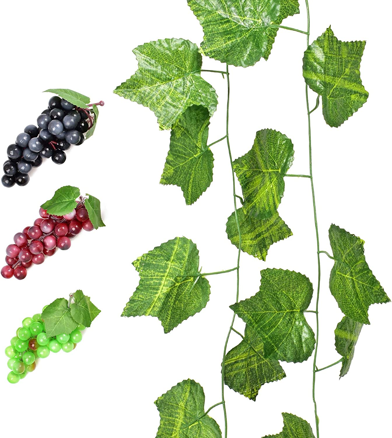 HUIANER 3 Bunches of Fake Grapes Simulation Fruit with Artificial Vines Lifelike Leaves for Wedding Home Indoor Outdoors Party Garden Wall Decoration(Small)