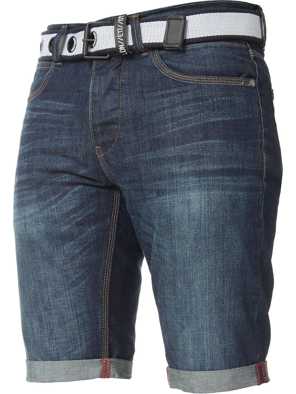 APT Mens Designer Dark Blue Slim Fit Cotton Denim Shorts Free Belt - All Waist Sizes