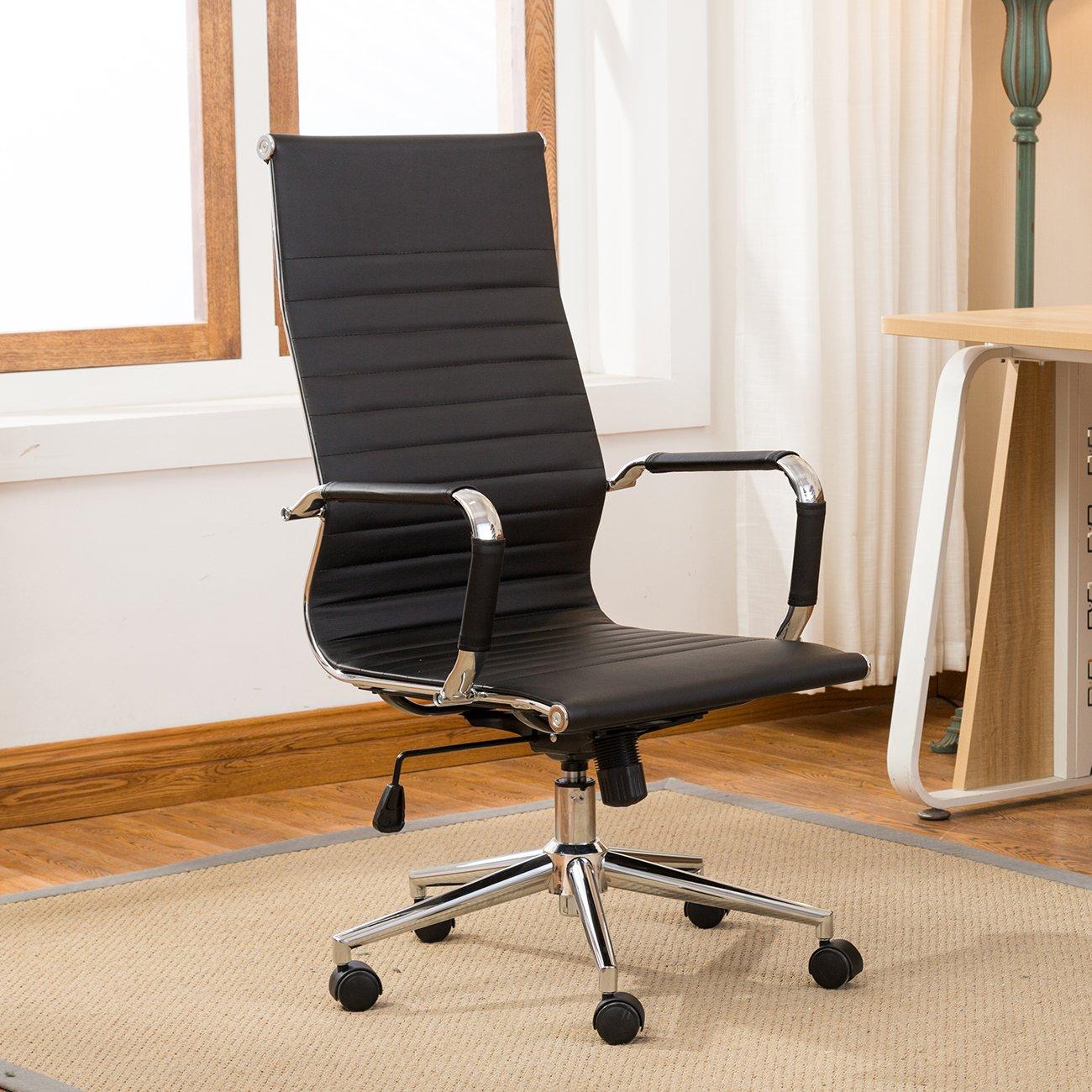 Belleze Modern High-Back Ribbed Leather Adjustable Height Tilt Swivel Upholstered Computer Conference Desk Office Chair, Black
