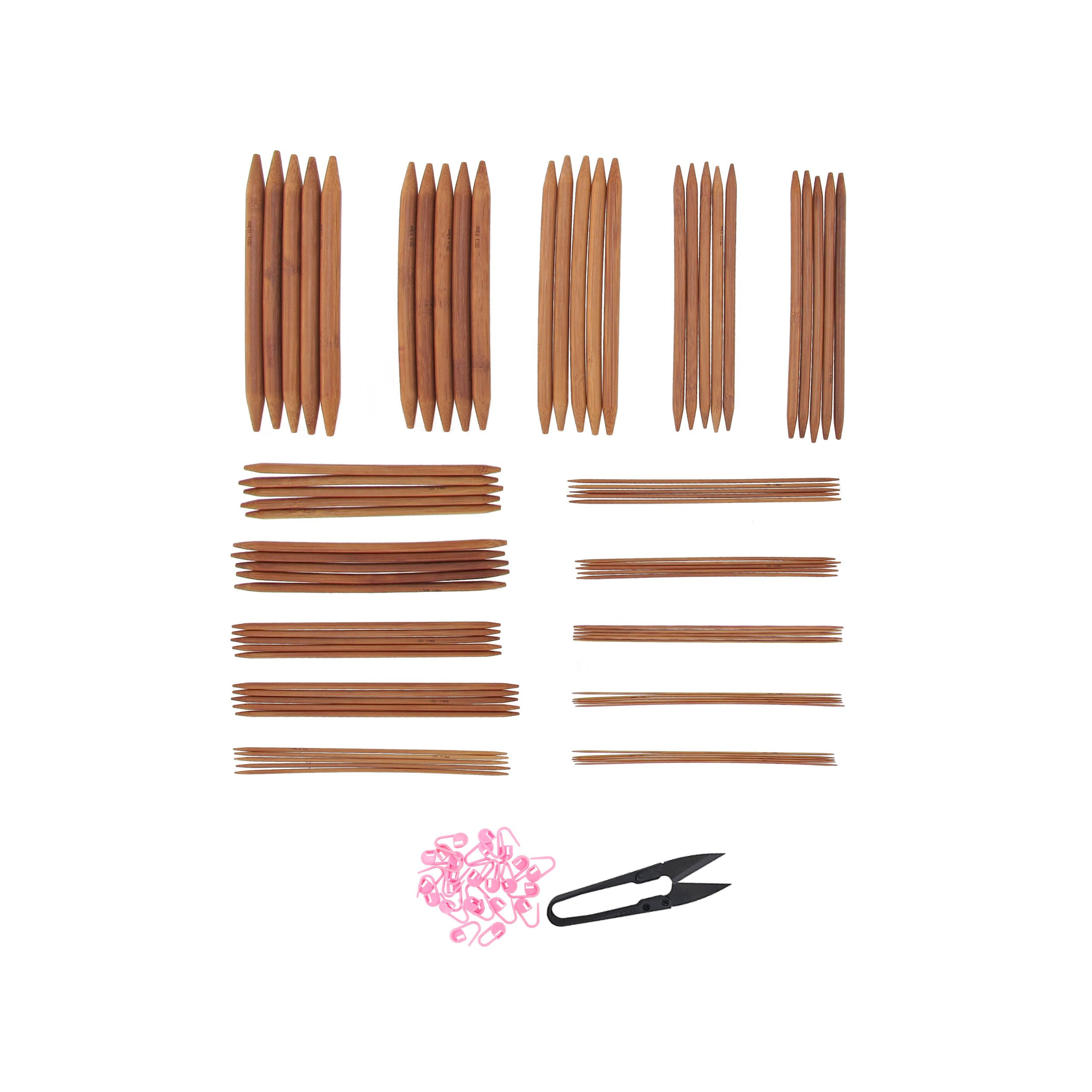 Bamboo Ultra Strong Knitting Needles Set 5'' Double Point 75 Pcs - 15 Sizes 2mm - 10mm (5 needles per size) - Carbonized Brown - Comes w/Stitch Markers & Snip