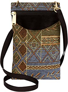 product image for Danny K Women's Tapestry Crossbody Cell Phone or Passport Purse, Handmade in USA, Neptune/Blue, Small