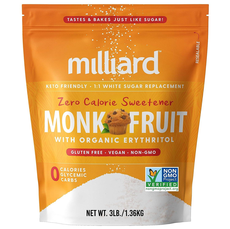 Milliard Monk Fruit Sweetener 1:1 Sugar Replacement, 0 Calories White Monkfruit with Erythritol
