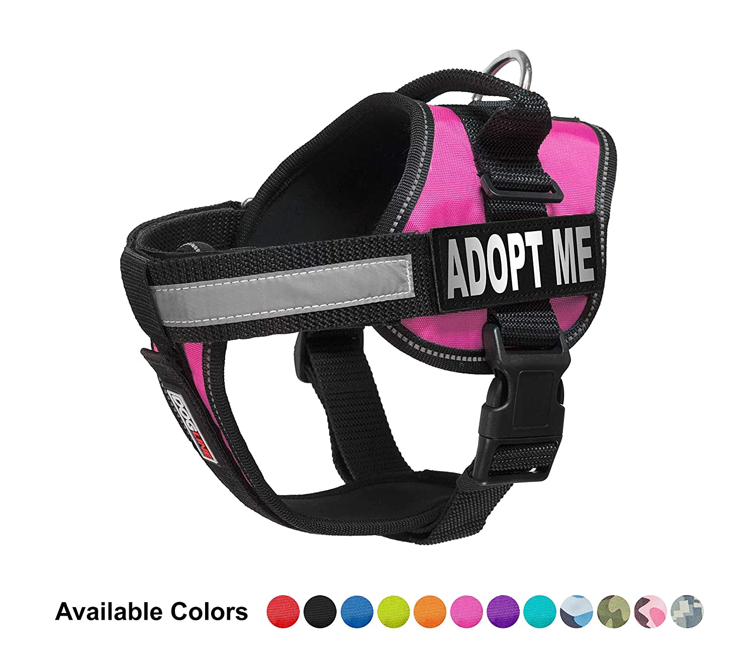 Dogline Vest Harness for Dogs and 2 Removable Adopt Me Patches, Medium 22  to 30 , Pink