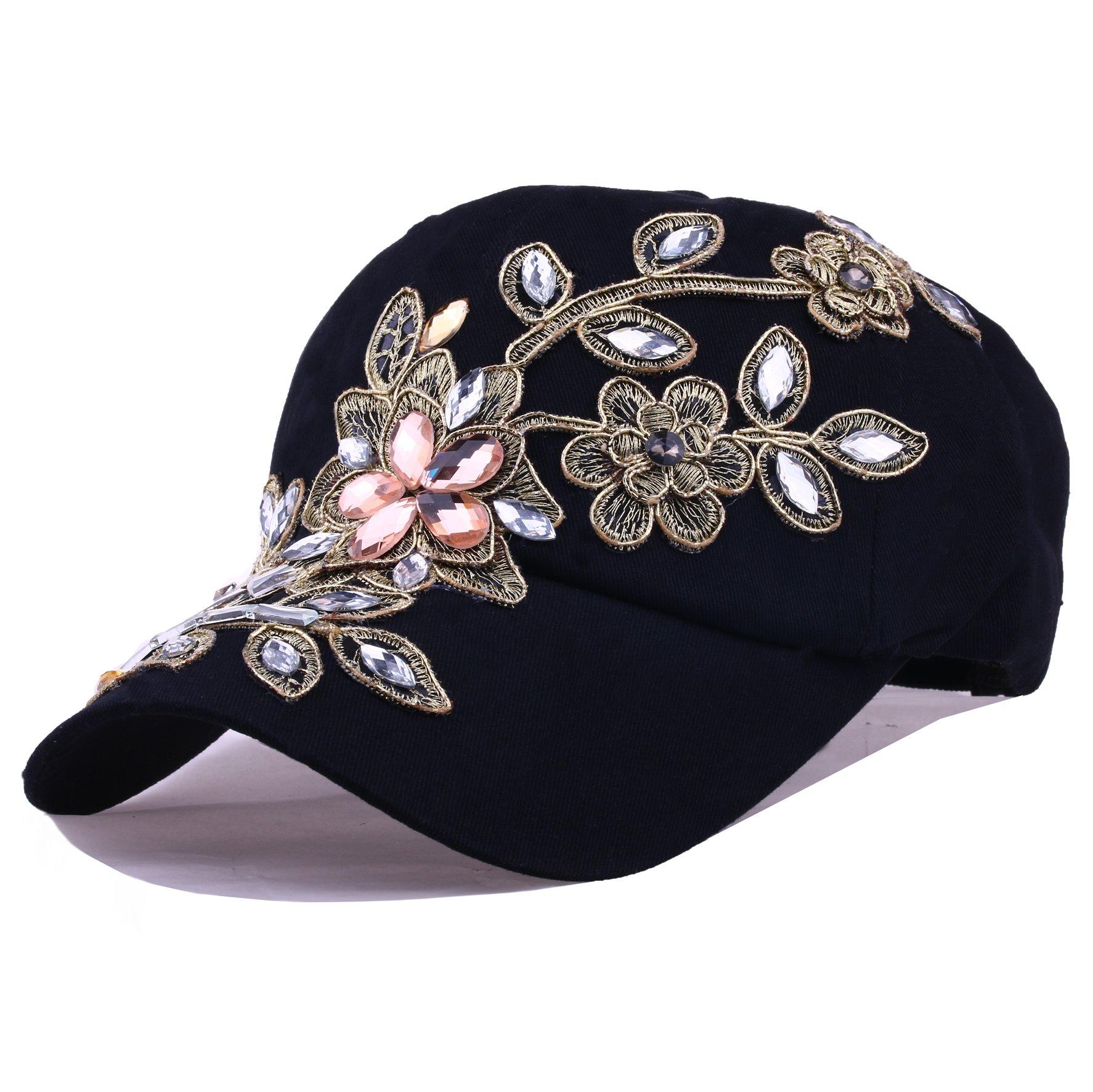 ca991947765 Deer Mum Ladies Denim Jean Campagne Bling Ajustable Baseball Cap Cowboy Hat(flower  1) (Black) - Jeanhat-zm-flower1-black   Baseball Caps   Clothing