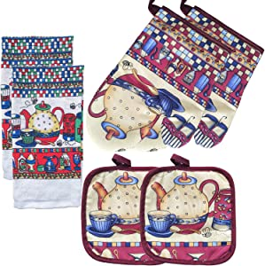 FSTIKO Funny Teapot Kitchen Linen Set Includes 2 Oven Mitt, 2 Pot Holders, 2 Kitchen Towels Dishcloths Kitchen Decor for Cooking, Baking, Barbecue(Set of 6 Piece)