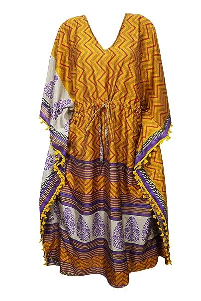 66150306b1 Womens Mustard Kaftan Maxi Dress Silk Lounge Coverup Loose Caftan One Size:  Amazon.co.uk: Clothing