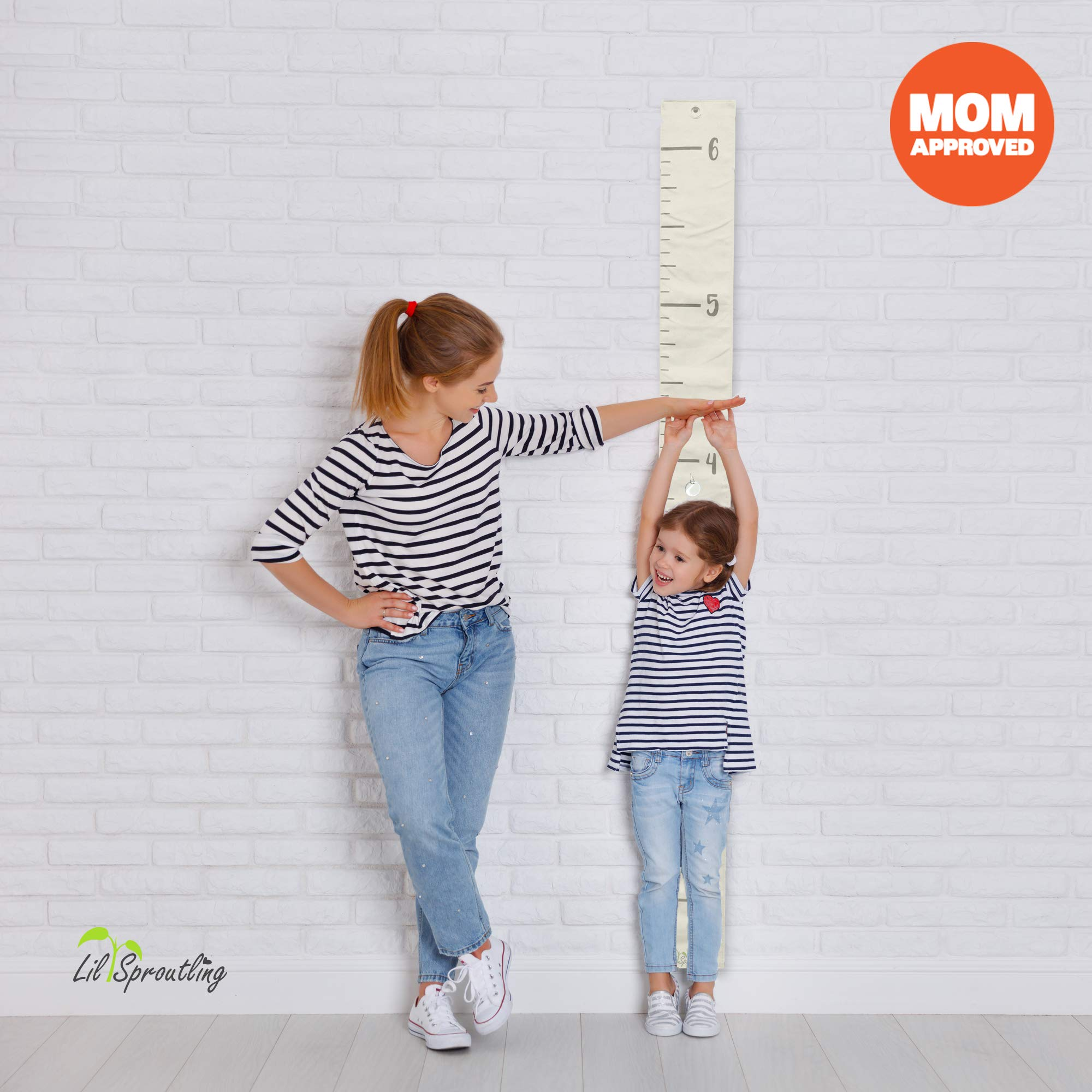 Lil Sproutling Natural Canvas Child Height Growth Chart - Includes 15 Key Tags & Gift Packaging - 69'' x 5.5'' - Neutral Design for Boys & Girls - Growth Wall Ruler Decor for Kids