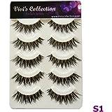 Vivi's Collection 5 Pairs S1 Natural Eyelashes Black False Eye Lashes