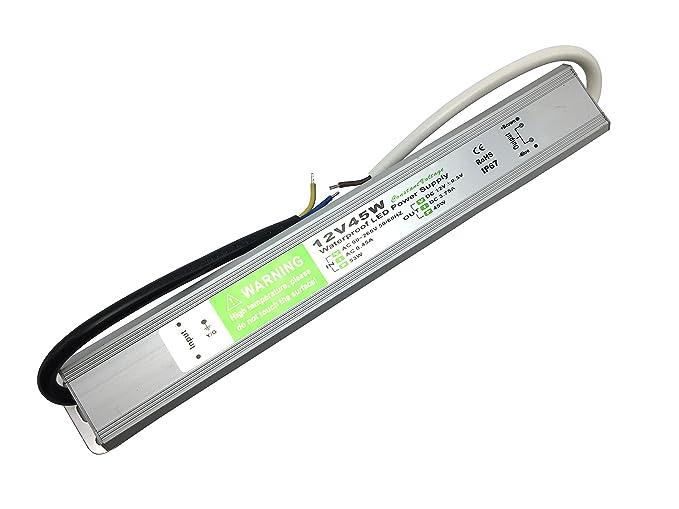YXH® Transformador 45W LED Tira Módulo luces Conductor 12v Fuente de alimentación iluminación exterior impermeable