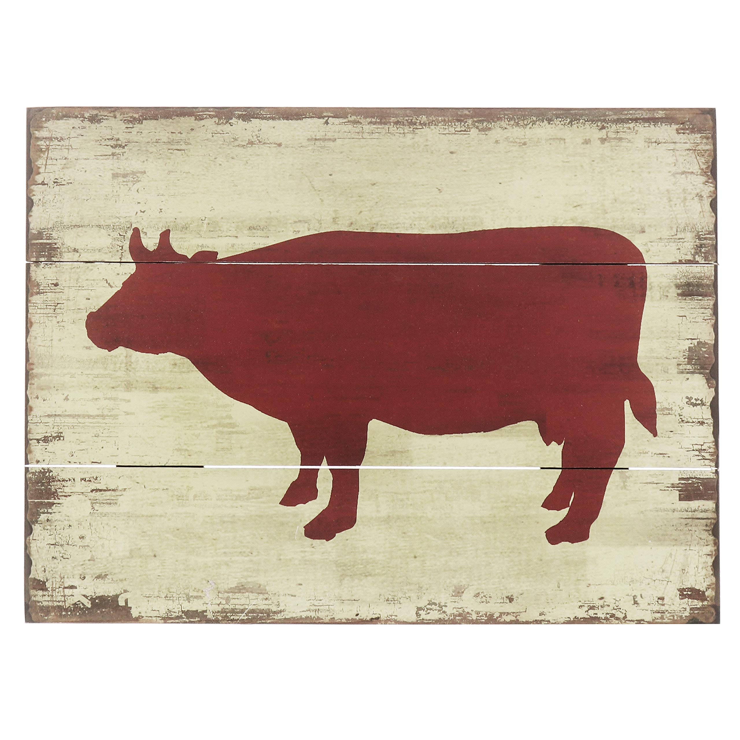 Barnyard Designs Red Cow Silhouette Retro Vintage Wooden Plaque Bar Sign Country Home Decor 15.75'' x 11.75''