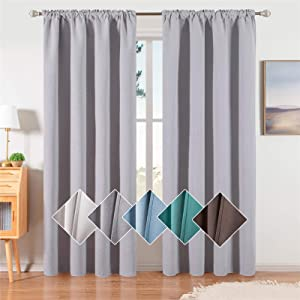 Noledar 100% Blackout Curtains Two Side Linen Textured Drapes 96 Inches Long for Living Room Bedroom Thermal Insulated Rod Pocket Draperies , 2 Panels, Light Grey