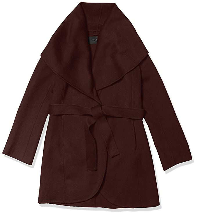 T Tahari Women's Double face Wool Coat with Optional self