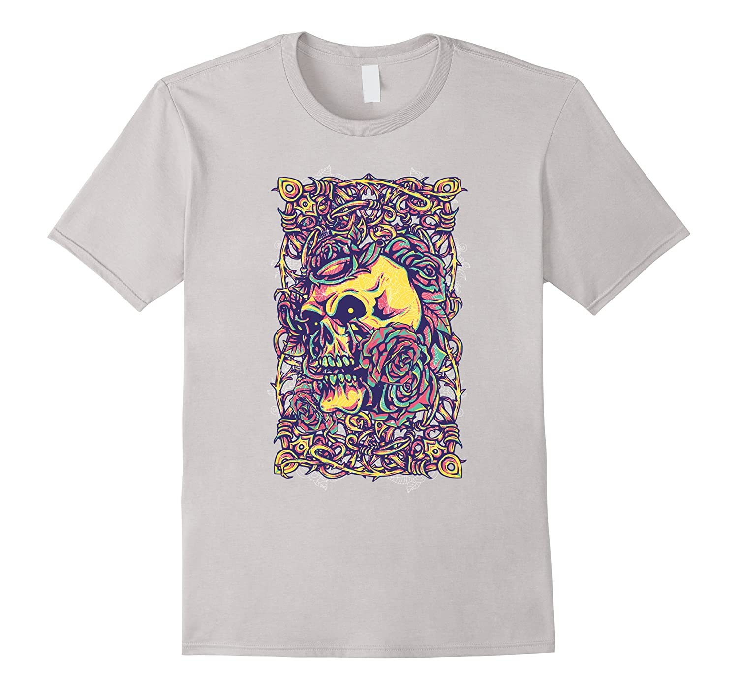 Vintage Skull And Roses Scary Design T-Shirt