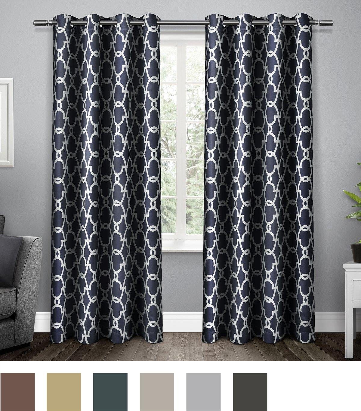 Exclusive Home Curtains Gates Sateen Blackout Thermal Grommet Top Window Curtain Panel Pair, Peacoat Blue