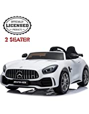 2 Seater Kids Ride On Car, Mercedes Benz AMG GTR Electric Ride On Car, Official Licensed Kid Car with 2.4G Remote Control, LED Light, MP3 Player, 12V 2 Motors (White)