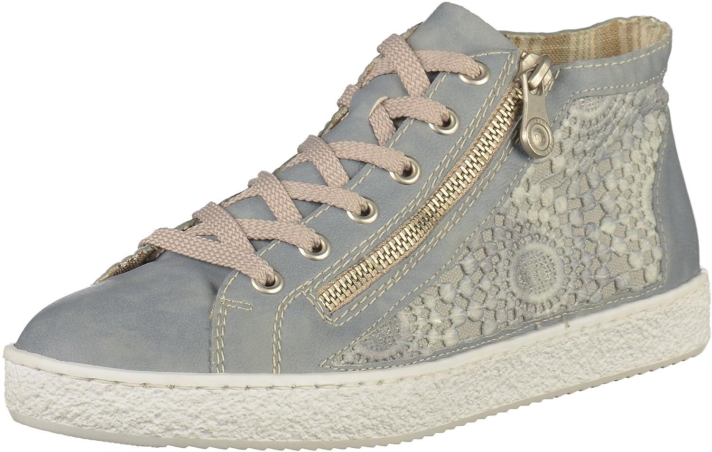 Rieker Mujeres Zapatos con cordones azul, (blue/grey) L4812-12 40 EU|Blue/Grey