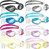 8 Pieces Swim Goggles Swimming Goggles, Adjustable Silicone Swim Glasses Crystal Clear Swimming Glasses Goggles for Children