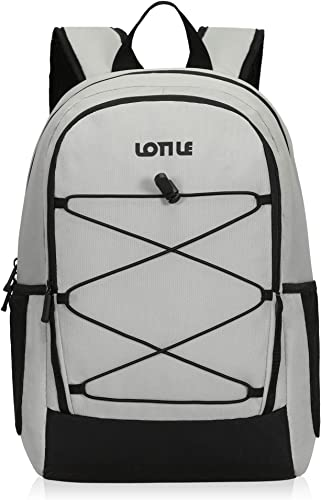 LOTILE 27 Cans Insulated Backpack Cooler Leakproof,Lightweight Cooler Backpack,for Camping Picnic Beach Hiking Soccer Game White